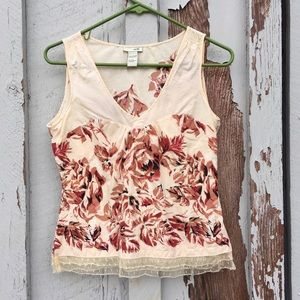 Odille Anthro 4 Floral V-Neck Top Lace Sleeveless